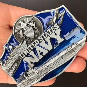 Other - Navy United States belt buckle cowboy silver men